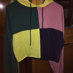 Color block cropped shein sweater